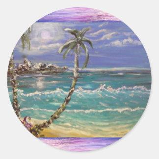 Sticker Rond vague de plage, palmiers