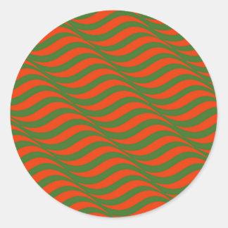 Sticker Rond Vagues rouges et vertes