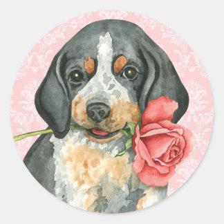 Sticker Rond Valentine Bluetick rose