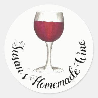 Sticker Rond Verre personnalisé par vin fait maison de vin