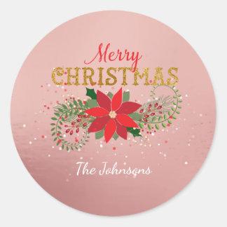 Sticker Rond Verre rose d'or de l'anglais de Joyeux Noël