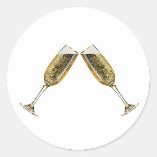 Sticker Rond Verres de Champagne