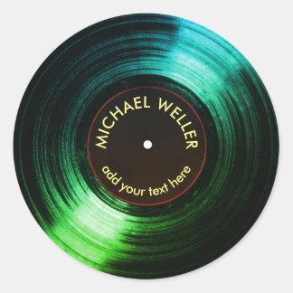 Sticker Rond vert de disque vinyle d'ajouter-nom