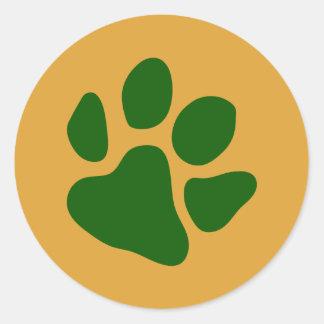 Sticker Rond Vert d'empreintes de pattes