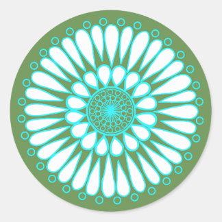 Sticker Rond Vert - double mandala de tournesol de glace