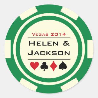 Sticker Rond Vert et blanc de jeton de poker