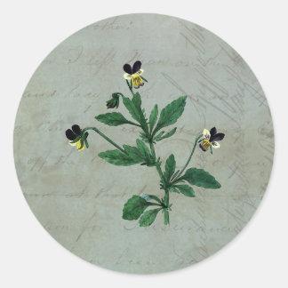 Sticker Rond Vert gris avec les altos botaniques