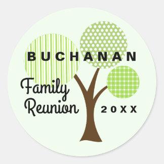 Sticker Rond Vert lunatique d'arbre de la Réunion de famille