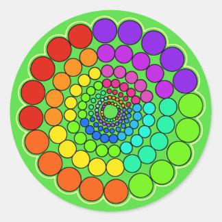Sticker Rond Vert - mandala de spectre d'arc-en-ciel