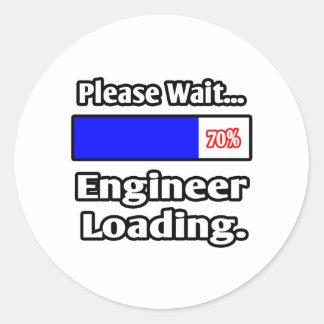 Sticker Rond Veuillez attendre… le chargement d'ingénieur