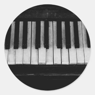 Sticker Rond Vieille musique d'instrument de clavier de piano à