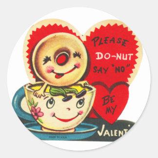 Sticker Rond Vieille tasse et beignet de café vintage de