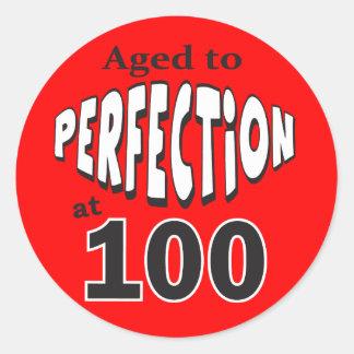 Sticker Rond Vieillissez à la perfection anniversaire de 100 %