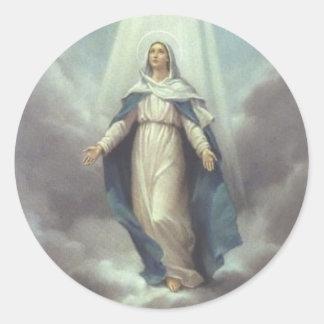 Sticker Rond Vierge au Ciel