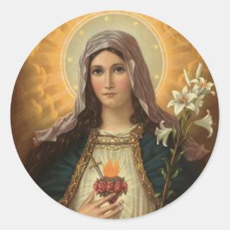 Sticker Rond Vierge Marie aux Lys