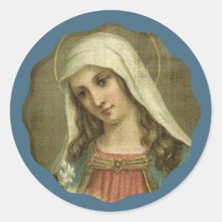 Sticker Rond Vierge Marie béni