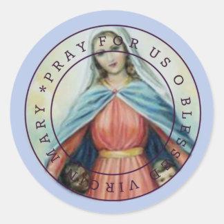 Sticker Rond Vierge Marie béni avec des enfants