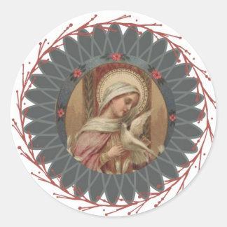 Sticker Rond Vierge Marie béni avec la colombe de Saint-Esprit