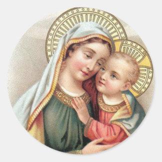 Sticker Rond Vierge Marie béni avec le bébé Jésus