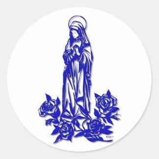 Sticker Rond Vierge Marie béni (avec les roses bleus)