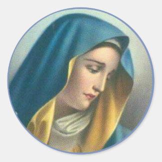 Sticker Rond Vierge Marie béni douleureux