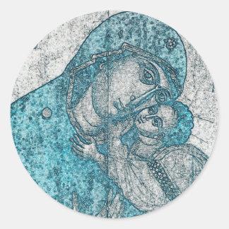 Sticker Rond Vierge Marie et bleu vintage de Jésus-Christ de