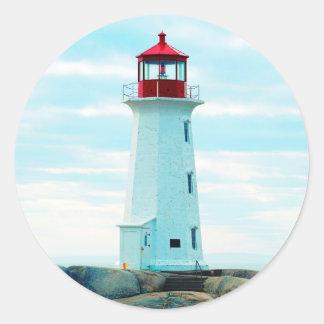 Sticker Rond Vieux phare, océan bleu, maritime, nautique