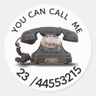 Sticker Rond Vieux téléphone - ajoutez le nombre