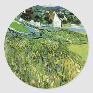 Sticker Rond Vignobles de Van Gogh avec Auvers, beaux-arts