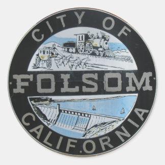 Sticker Rond Ville de logo de ville de Folsom Calfornia