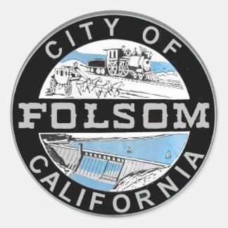 Sticker Rond Ville de logo graphique de Folsom : Version