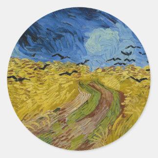 Sticker Rond Vincent van Gogh - champ de blé avec la peinture