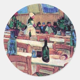 Sticker Rond Vincent van Gogh - intérieur de restaurant