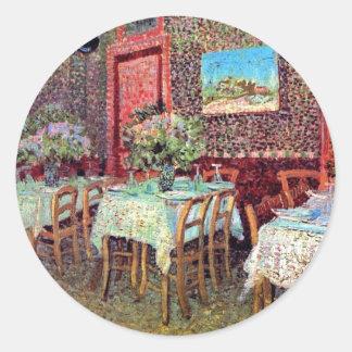 Sticker Rond Vincent van Gogh - intérieur d'un restaurant