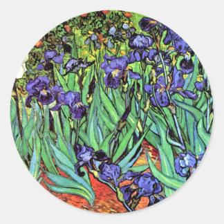 Sticker Rond Vincent van Gogh - iris - beaux-arts d'amant de