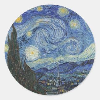 Sticker Rond Vincent van Gogh | la nuit étoilée, juin 1889
