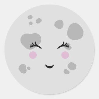 Sticker Rond Visage de lune de sourire mignon et ringard
