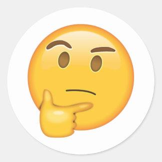 Sticker Rond Visage de pensée - Emoji
