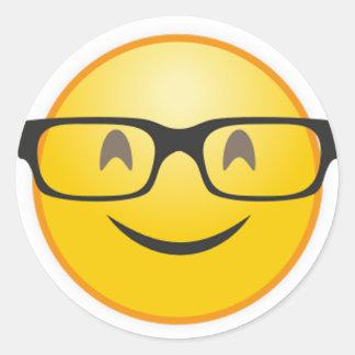 Sticker Rond Visage de sourire avec l'autocollant drôle d'emoji
