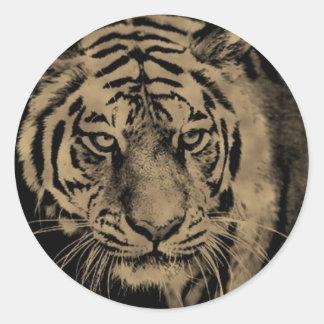 Sticker Rond Visage de tigre