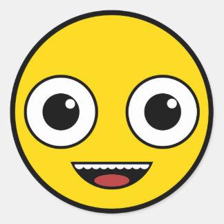Sticker Rond Visage heureux superbe