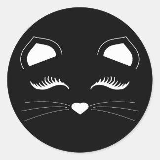 Sticker Rond Visage noir et blanc de chat