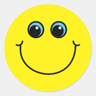 Sticker Rond Visage souriant jaune