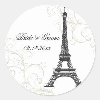Sticker Rond Visite Eiffel de La de PixDezines+Couleur de