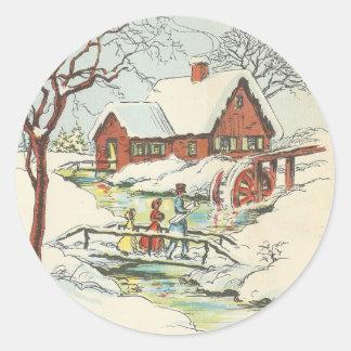 Sticker Rond Visite vintage de Noël