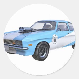 Sticker Rond voiture de muscle des années 70 dans bleu et blanc