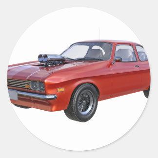 Sticker Rond voiture de muscle des années 70 en rouge