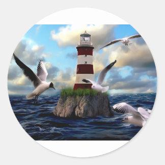Sticker Rond Voler d'oiseaux de phare