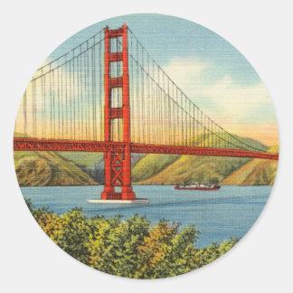 Sticker Rond Voyage vintage de golden gate bridge San Francisco