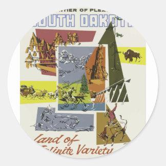 Sticker Rond Voyage vintage le Dakota du Sud Etats-Unis